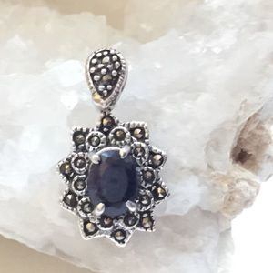 Blue Sapphire Stone & Marcasites Silver Pendant